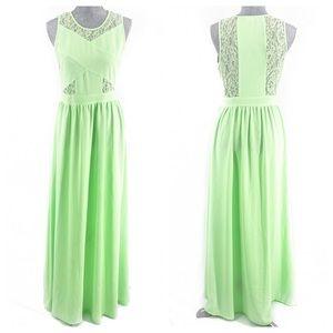 Gianni Bini Green Maxi Lace Sleeveless Dress Small